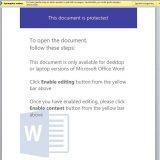 Suklastoto el. laiško kenksmingas priedas, prašantis įgalinti redagavimo funkcijas